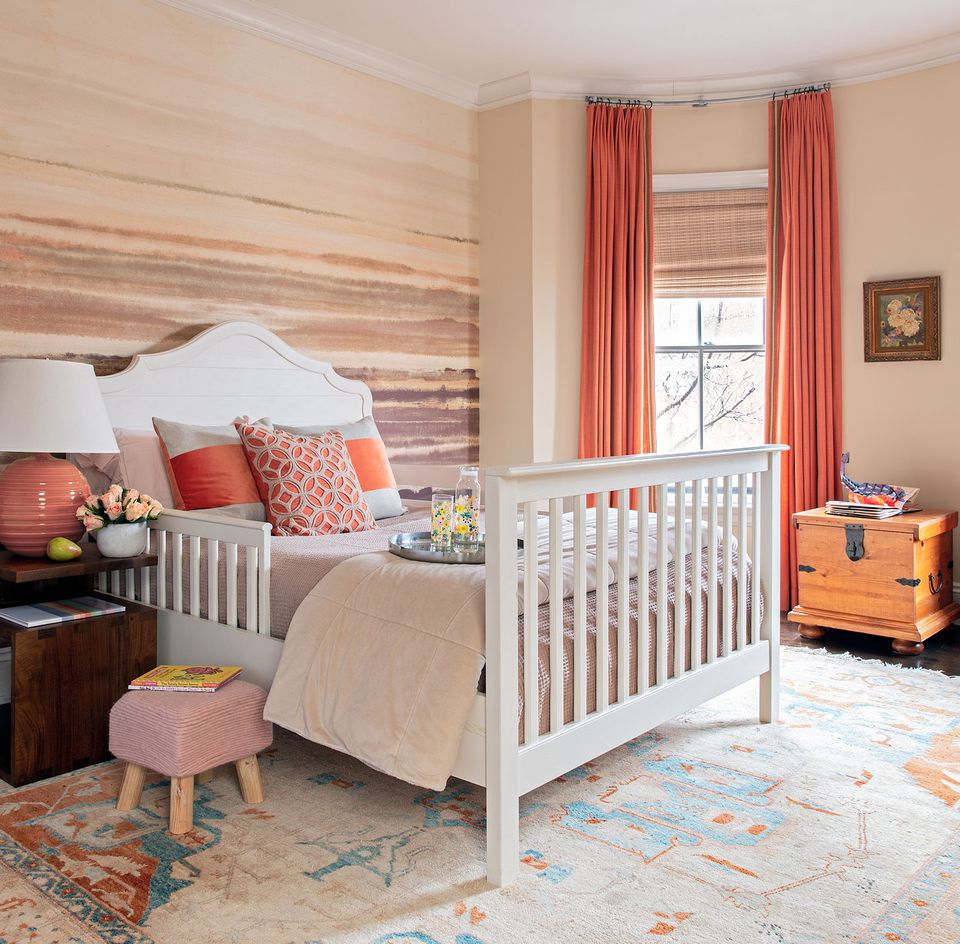 The hemp wallcovering in Cailey's room is Fade by Phillip Jeffries.