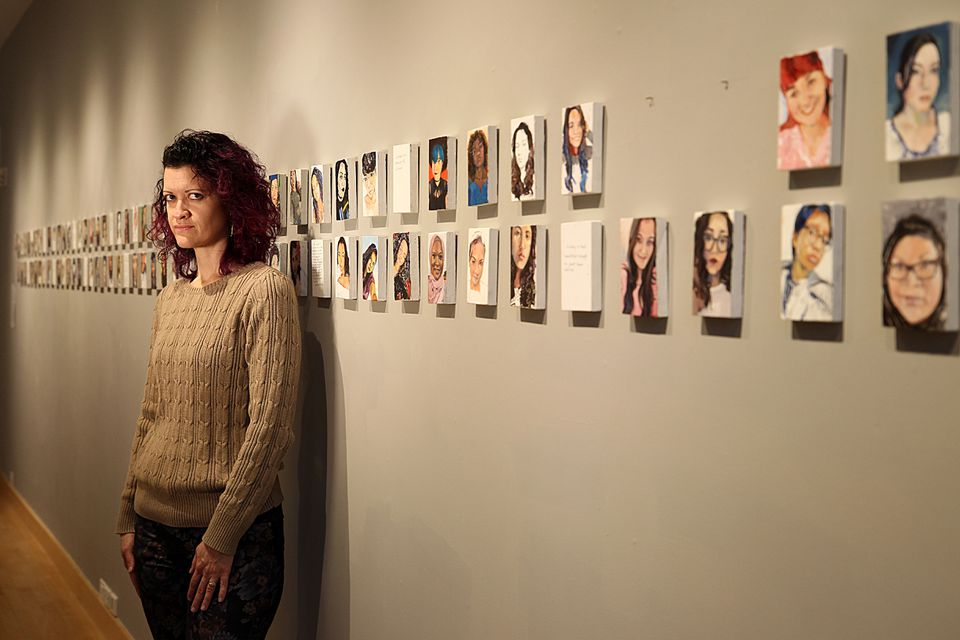Nayda Cuevas, a Puerto Rican artist-in-residence at Noble and Greenough School in Dedham, is claiming censorship after school officials took down two paintings from a series on identity. The work is up through Wednesday.
