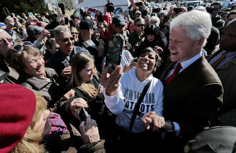 Former president Bill Clinton appeared in New Bedford, Mass., on Super Tuesday in support of his wife, Democratic presidential candidate Hillary Clinton.