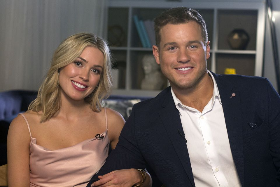 """Cassie Randolph, left, and Colton Underwood from the reality series """"The Bachelor."""""""