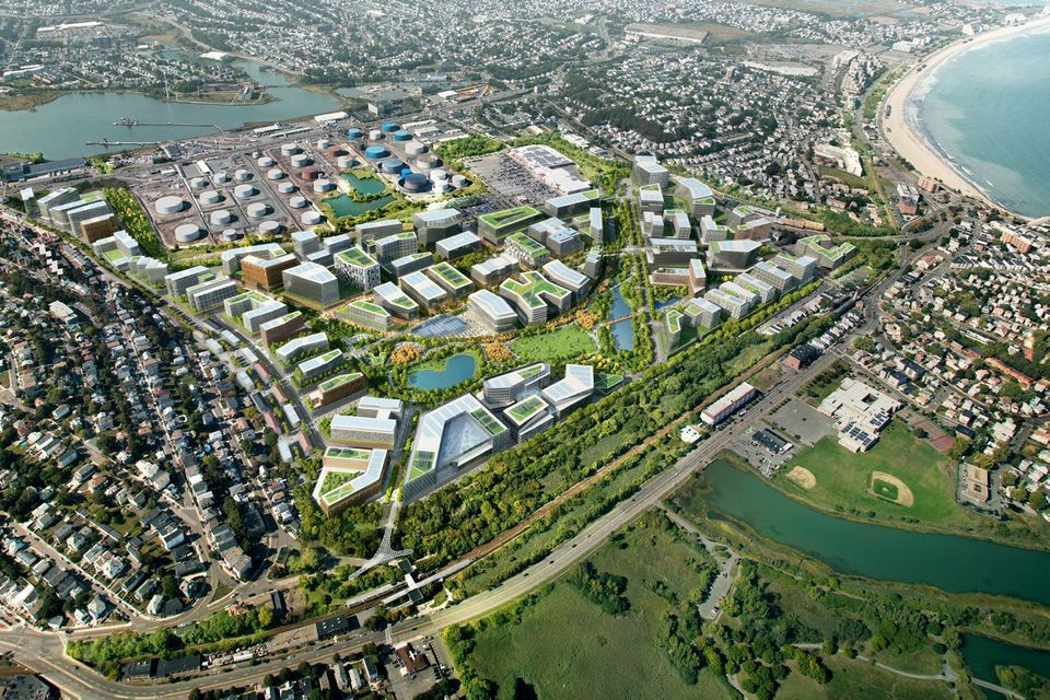 Rendering of Suffolk Downs site from City of Boston Amazon HQ bid.