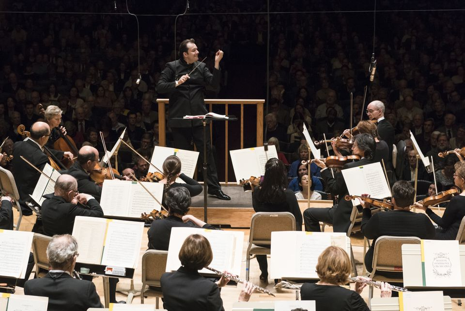 Andris Nelsons leads the Boston Symphony Orchestra at Symphony Hall Thursday night.