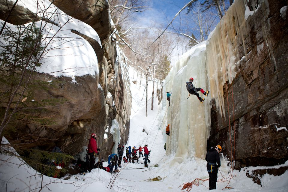 The box canyon of Champney Falls is an ice climbing classroom, a training area that also holds clinics.