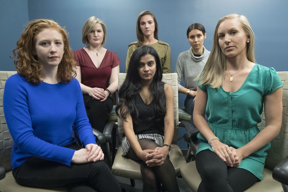 Six women filed a lawsuit against Dartmouth College for allegedly allowing three professors to create a culture in their department that encouraged drunken parties and subjected female graduate students to harassment, groping, and sexual assault. From left, back row, Annemarie Brown, Andrea Courtney, and Marissa Evansin, and from left, front row, Sasha Brietzke, Vassiki Chauhan, Kristina Rapuano.