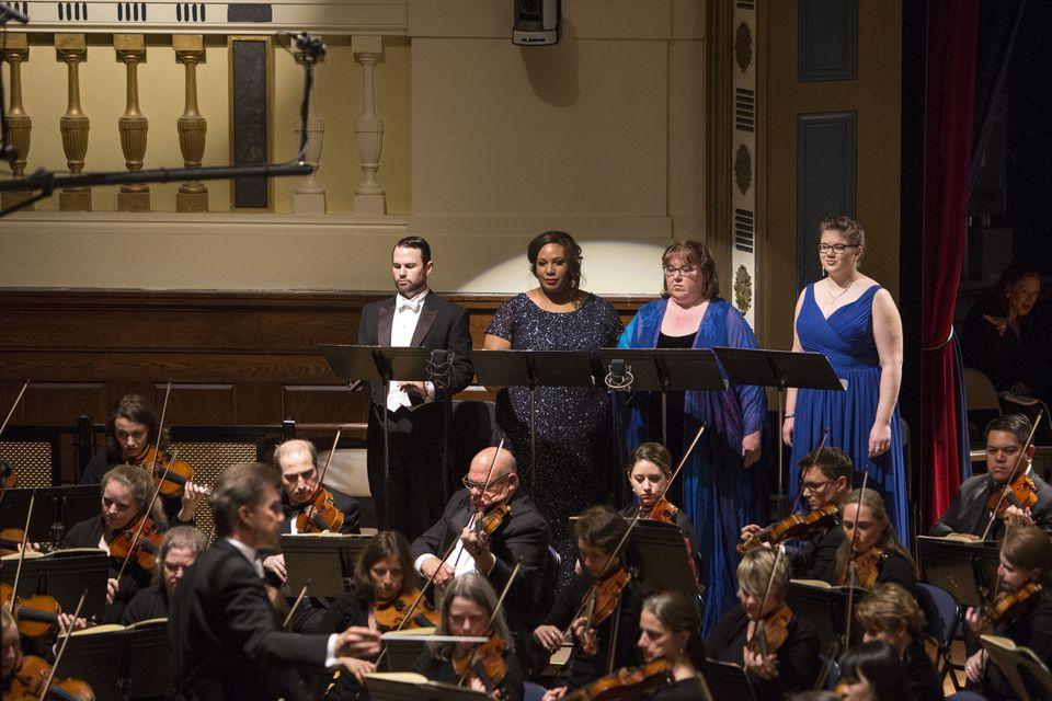 From left: bass-baritone Sam Handley, sopranos Sarai Cole and Jane Eaglen, and mezzo soprano Fiona McArdle.