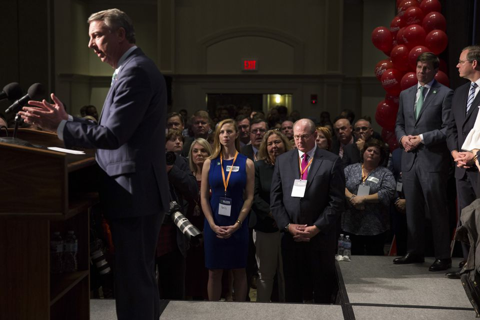 Ed Gillespie, Republican nominee for governor of Virginia, speaks to supporters after losing the race on Nov. 7.