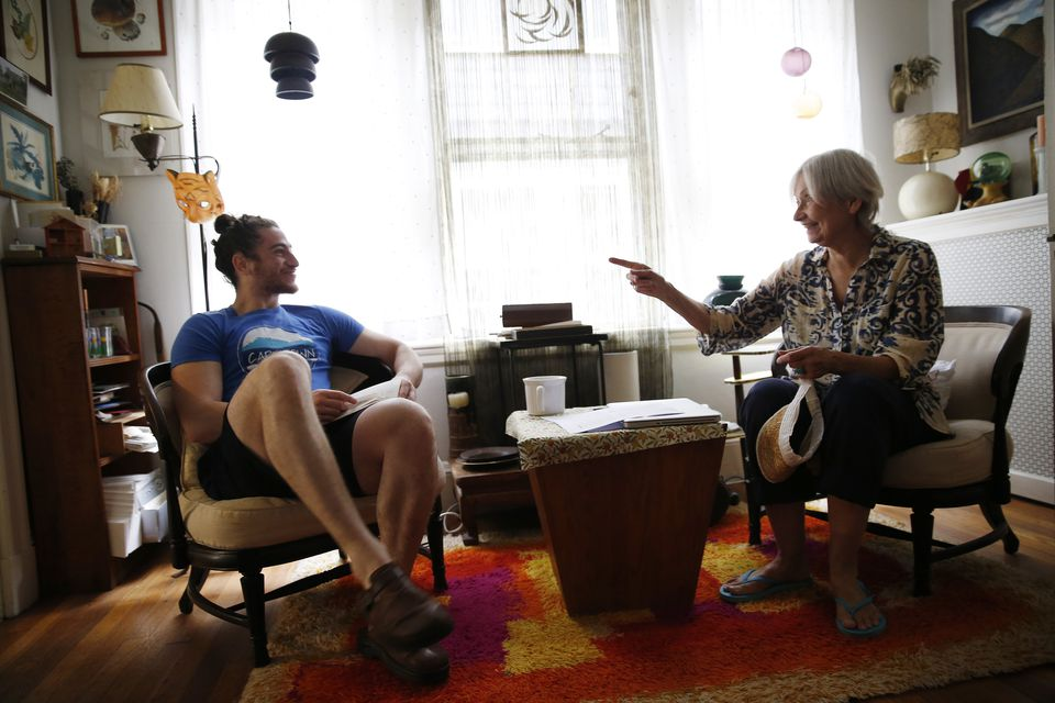 Dean Kaplan and Sarah Heintz chatted in the apartment they share in Cambridge.