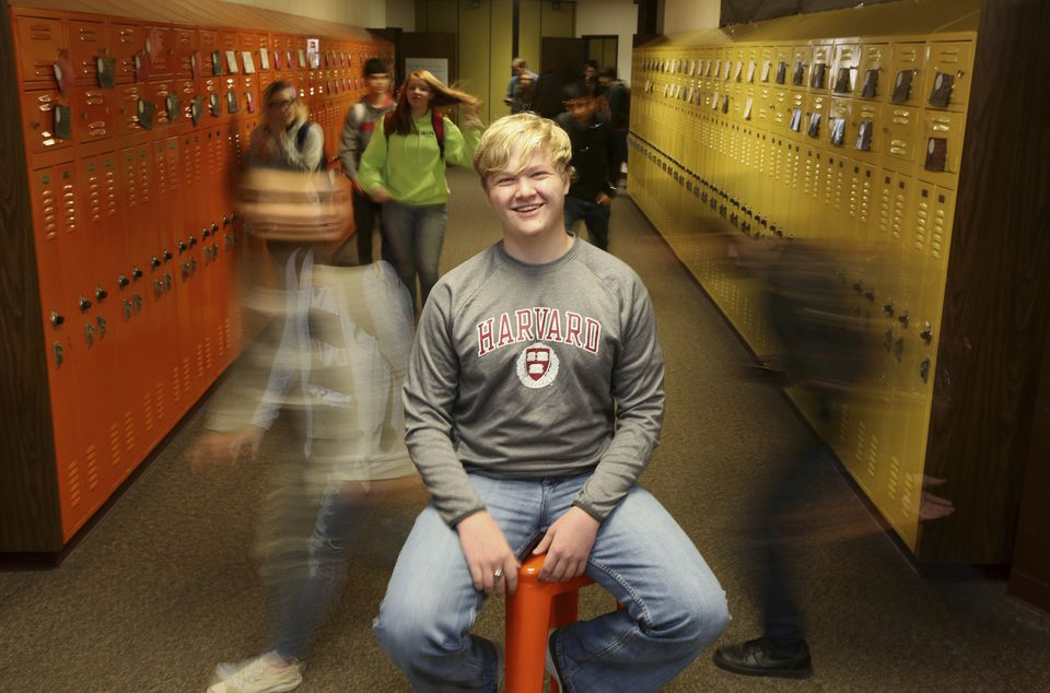 Ulysses High School senior Braxton Moral sat for a portrait in his school in Ulysses, Kan.