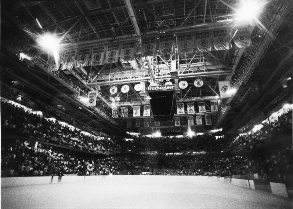 Emergency lights lit up the Boston Garden in May 1988 after a power outage during a Stanley Cup Final game between the Bruins and Oilers.