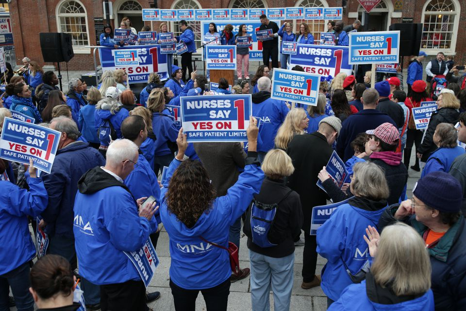 Question 1 on last fall's statewide ballot would have set strict limits on the numbers of patients assigned to nurses working in Massachusetts hospitals. The nurses union has long supported such limits and argues that they're necessary for patients to receive safe care.