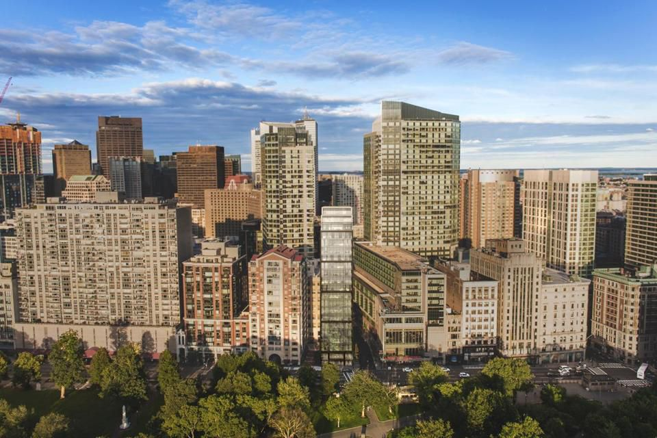 A rendering of the narrow condo tower proposed for 171 Tremont St., overlooking Boston Common.