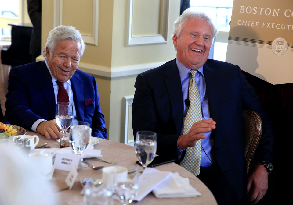 Patriots Owner Robert Kraft, left, was on hand with Jeff Immelt at a Boston College luncheon in 2016.