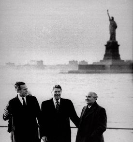 From left: Vice President George Bush, President Ronald Reagan, and Soviet leader Mikhail Gorbachev in 1988.