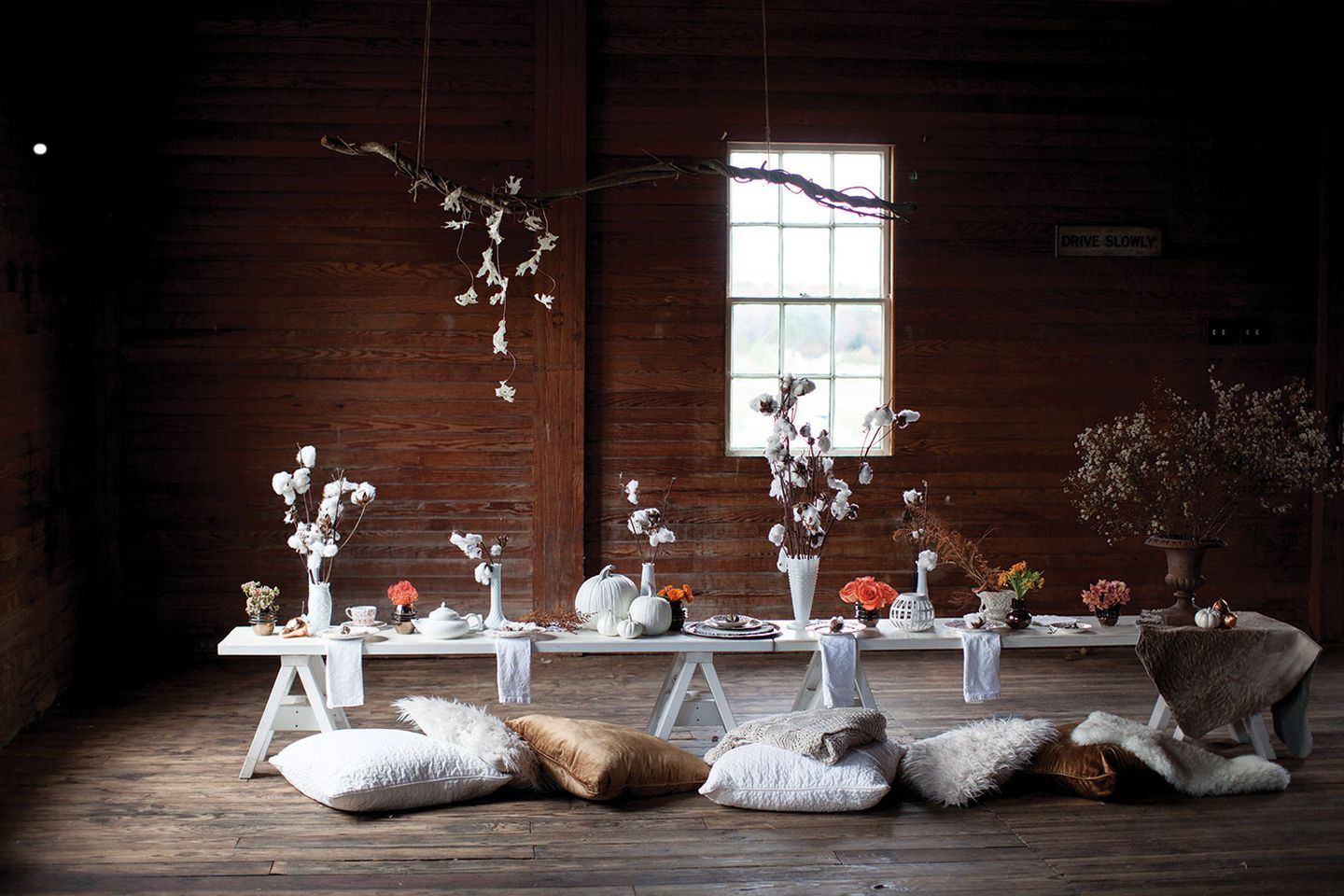 The table is set for a wedding at the Wells Reserve at Laudholm.