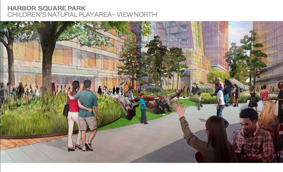 An architectural rendering shows how the developer envisions some of the public space at Seaport Square.