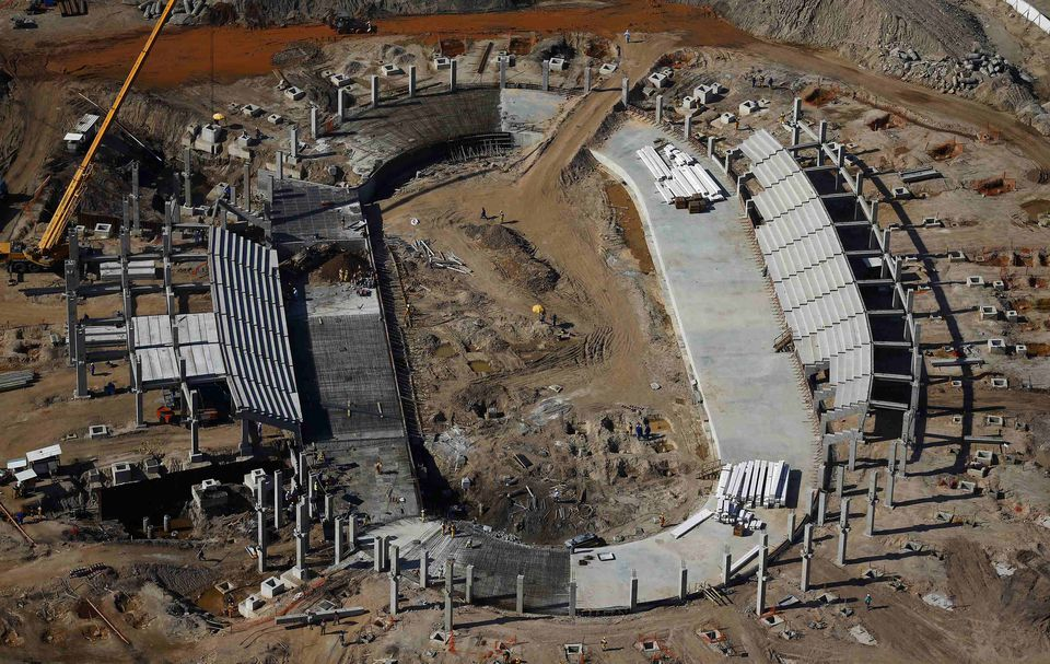The Rio 2016 Olympic Velodrome venue under construction in February.