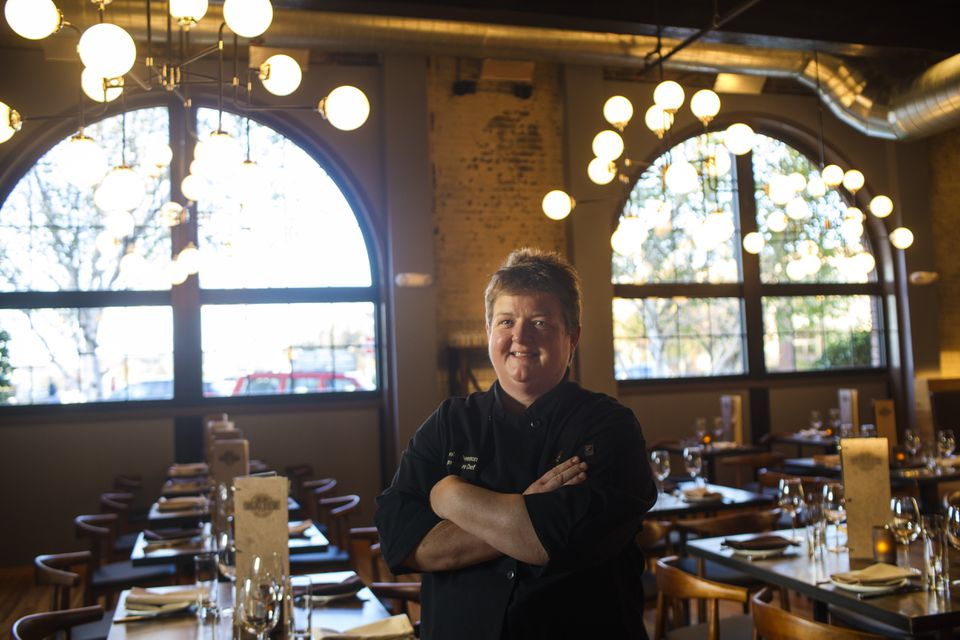 Executive chef Shelly Demmon in the dining room at the former Engine 5 fire station.