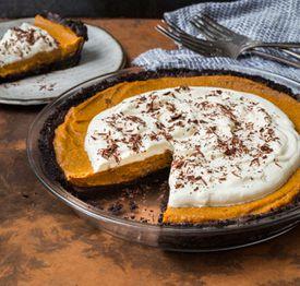 Pumpkin mousse pie with double-chocolate crust.