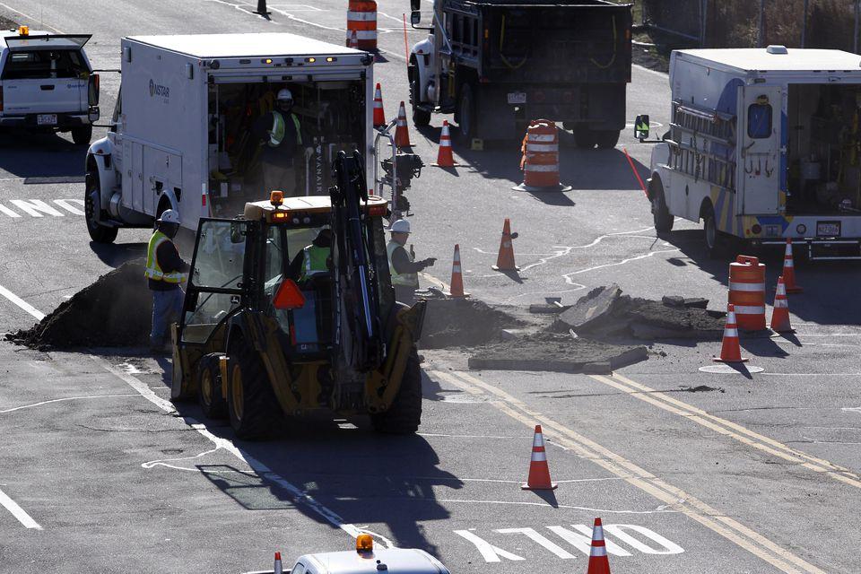 Crews worked on a gas leak in Westwood.