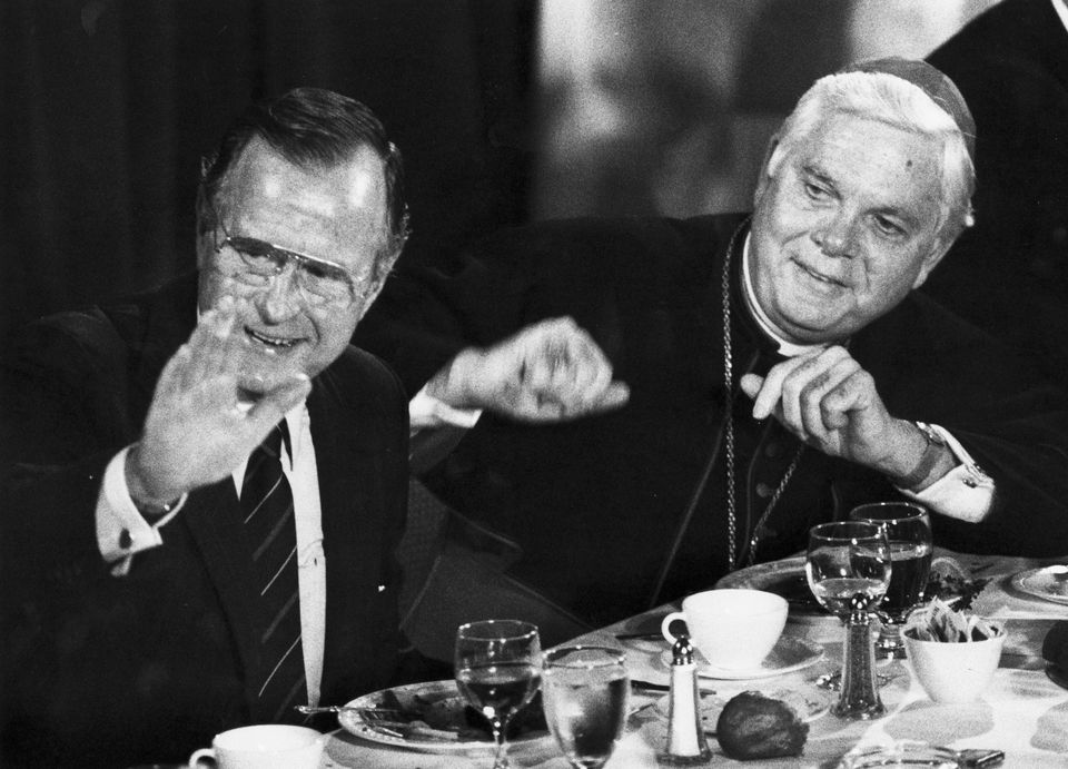 President George H.W. Bush and Cardinal Bernard F. Law at a luncheon for the Catholic Lawyers Guild at the Park Plaza Hotel in Boston on Sept. 23, 1989.