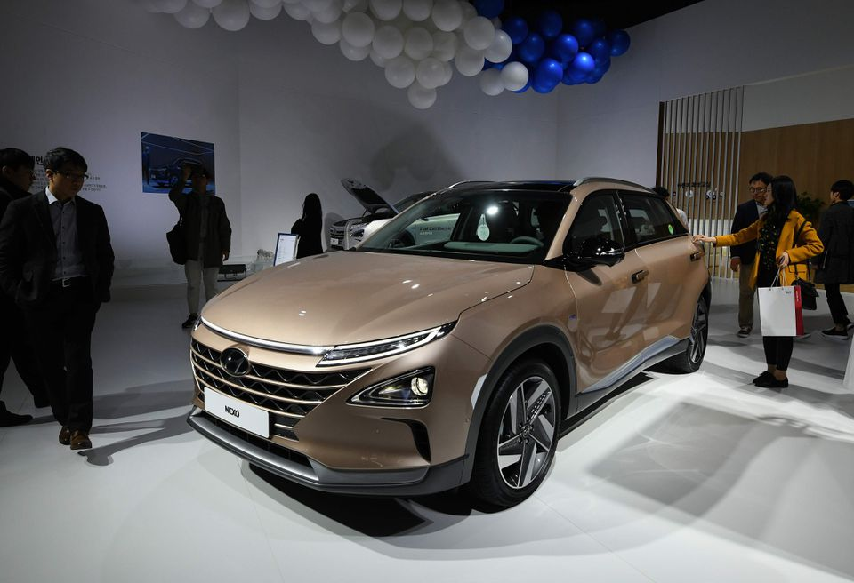 Hyundai Motor's Nexo, a hydrogen fuel-cell powered vehicle, during a press preview of the Seoul Motor Show in Goyang, northwest of Seoul, on March 28.