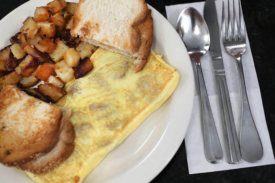 The cheese and sausage omelette at Theo's Cozy Corner in the North End.