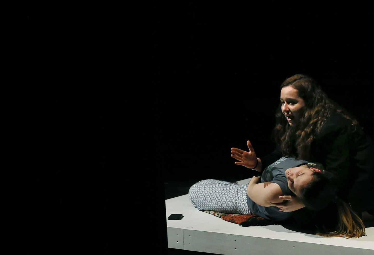 """As Yaz Ortiz, Deb rehearsed a pivotal scene in """"Water by the Spoonful"""" with Melissa Poirier as Odessa."""