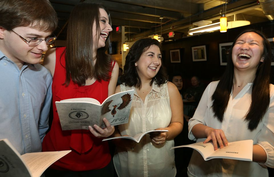 Coup D'Etat staff members (from left): Brendan Canfield, Abigail Clauhs, Nina Misra, and Jamie Lin at the launch party.