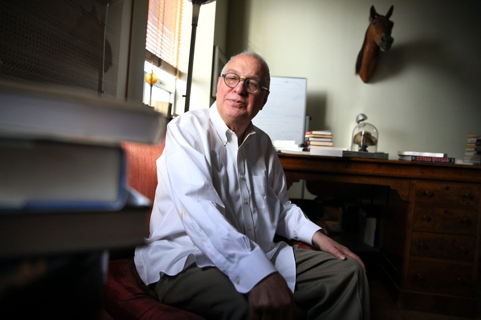 """Errol Morris, shown in his office in Cambridge, is looking for a distributor for his new film, """"American Dharma."""""""