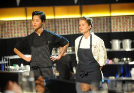 """Kristen Kish (left), shown in the final round of Bravo's """"Top Chef"""" competition, is a former model who says she is trying to learn from the mistakes of her youth."""