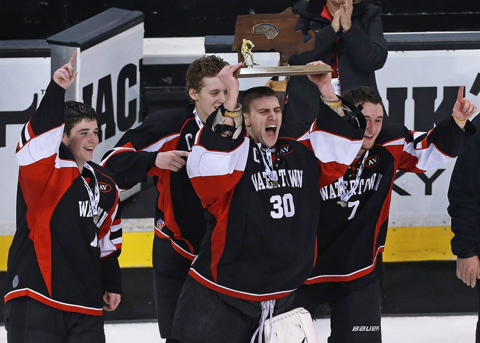 Watertown's Anthony Busconi (30) gave up just five goals in the Super 8 tournament.