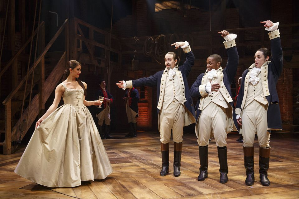 """A scene from the musical """"Hamilton"""" with Leslie Odom Jr. (second from right) as Aaron Burr."""
