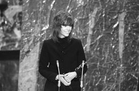 """Actress Jane Fonda cradled the Oscar she received for """"Best Actress"""" for her roll in """"Klute,"""" 1972."""