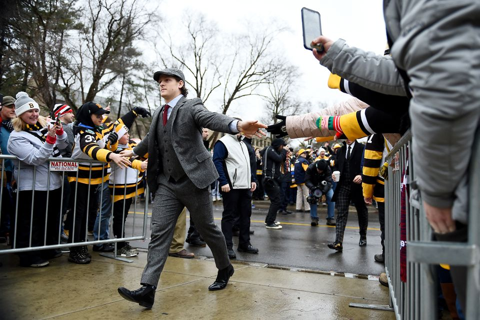 Torey Krug greeted fans on his way in.