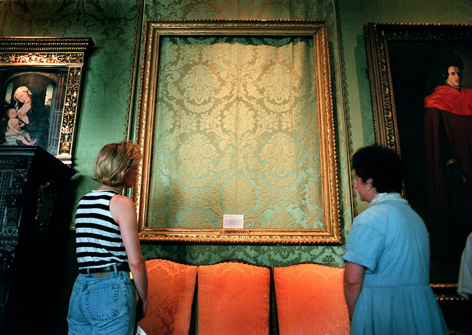 """An empty frame where Rembrandt's """"The Storm on the Sea of Galilee"""" was stolen from the Isabella Stewart Gardner Museum."""