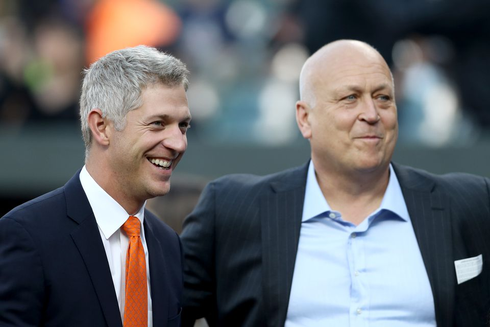 New general manager Mike Elias (left) grew up rooting for Cal Ripken Jr. and the Orioles.