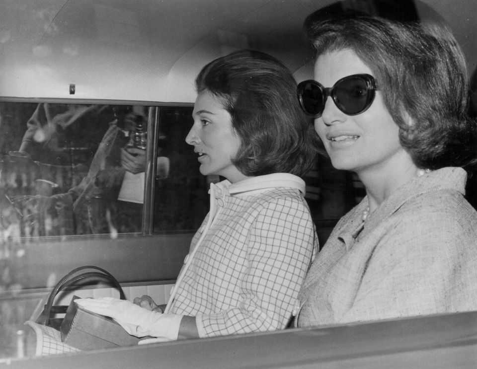 Mrs. Radziwill (left) was the sister of former first lady Jacqueline Kennedy Onassis. Above: the sisters in London in 1965.