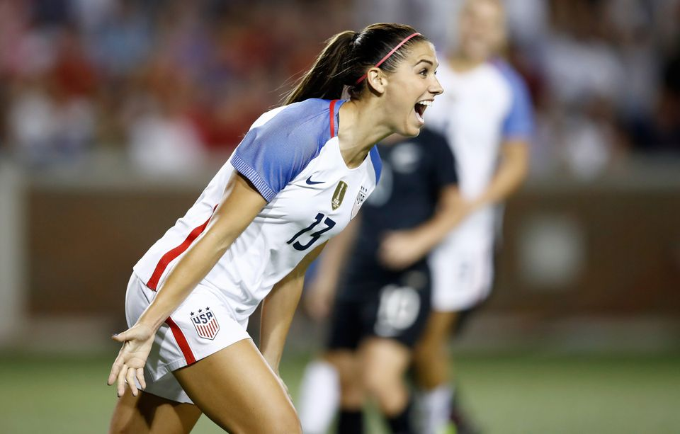 Alex Morgan celebrates after scoring in the second half Tuesday against New Zealand.