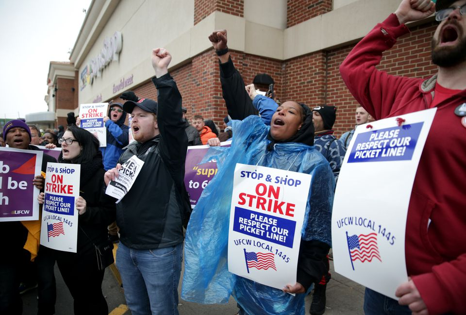 Striking Stop & Shop workers in Boston got a visit from Joe Biden, the former vice president, on April 18.