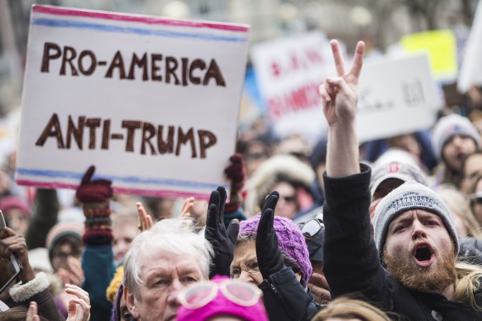 People protested the Trump administration's policies on deporting immigrants during a January protest in Copley Square.