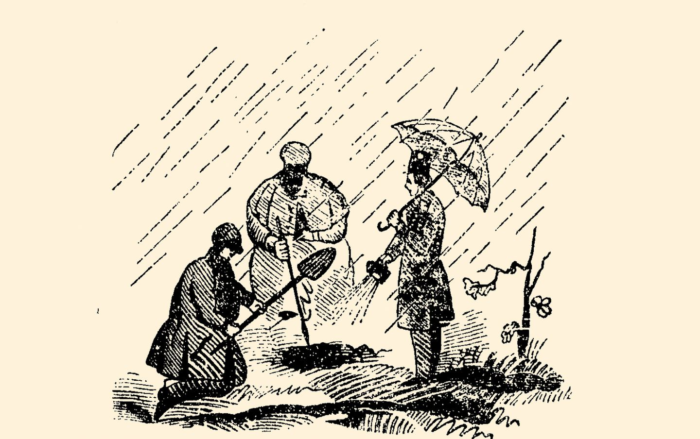 An image from an 1848 pamphlet on the life and adventures of Francis Tukey shows detectives recovering stolen money from the Public Garden.
