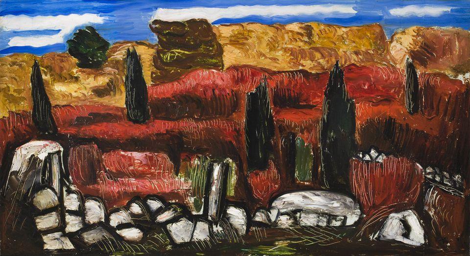 """Marsden Hartley's oil on masonite """"Dogtown'' (circa 1934)."""
