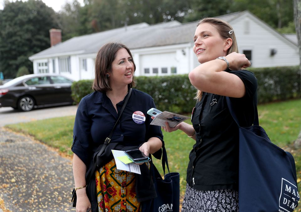 On the campaign trail: Dr. Katie McBrine (right), of Hingham, with campaign manager Melissa Smith.