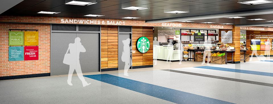 A rendering of the Boston Public Market in Terminal C at Logan Airport.