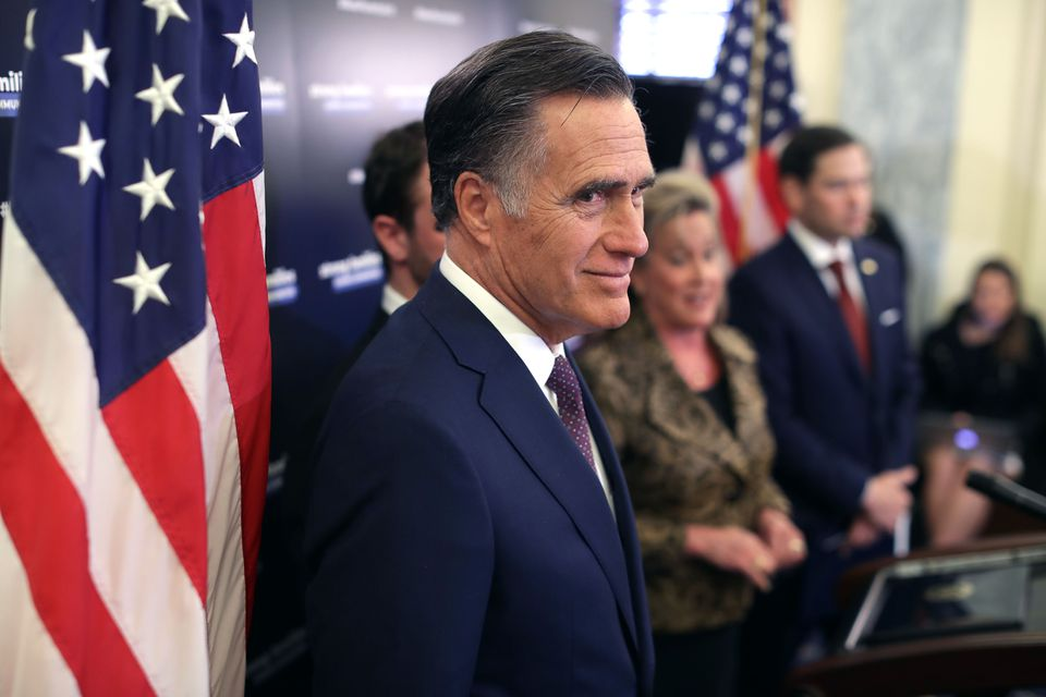 Mitt Romney at a news conference in Washington.