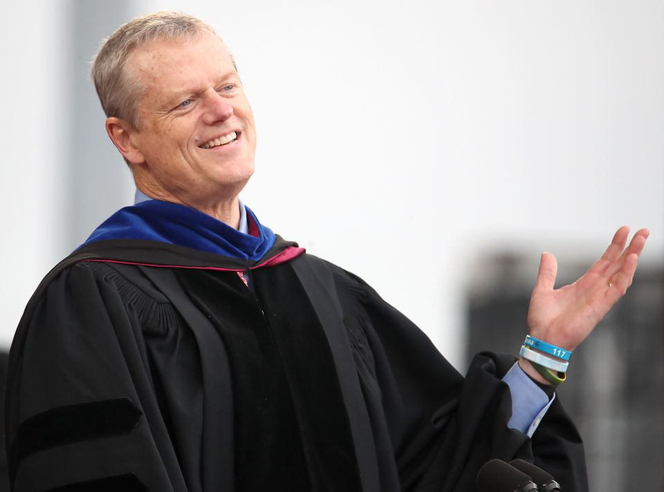Governor Charlie Baker was the keynote speaker during the UMass Amherst commencement ceremony at Mcguirk Alumni Stadium, May 10.