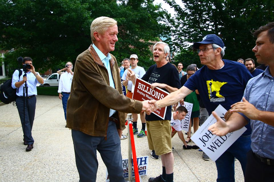 Weld greeted supporters in 2016 in Concord, N.H., during a rally for the Libertarian presidential ticket.