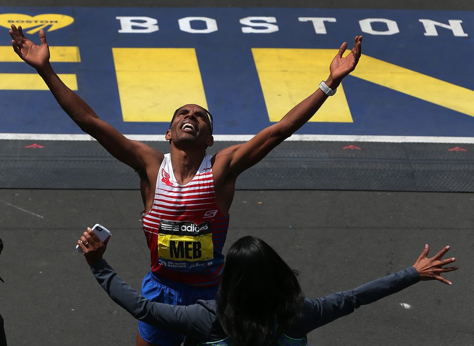 Meb Keflezighi, shown winning the Boston Marathon in 2014, will run this year to raise funds for the Martin Richard Foundation.