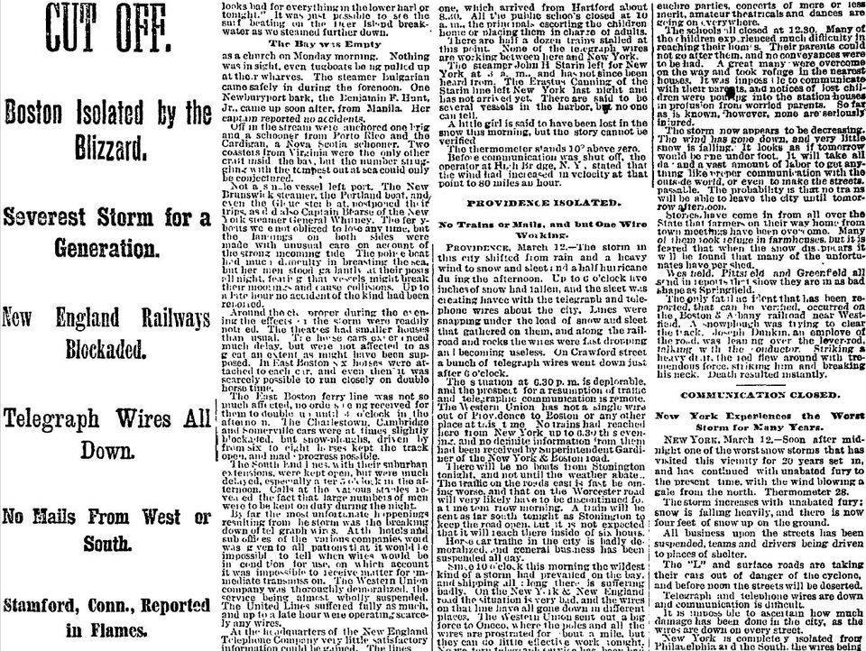 Headlines from the March 13,1888, Boston Globe amid the three-day storm that caused havoc across the Northeast.