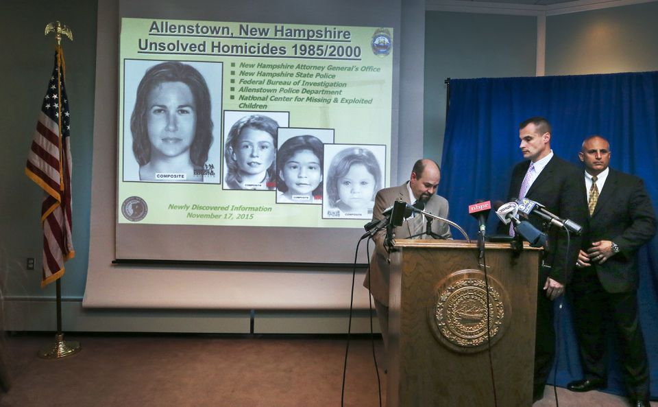 Senior Assistant Attorney General Ben Agati (left) answered questions during a press conference, with updated images of the dead woman and three girls in the background.